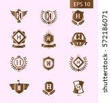 initial letter h brown logo... | Shutterstock .eps vector #572186071