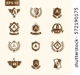 set of initial letter a brown... | Shutterstock .eps vector #572190175