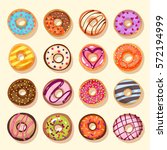 sweet donut set. the... | Shutterstock .eps vector #572194999