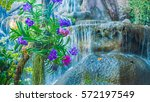beautiful orchids and waterfall ...   Shutterstock . vector #572197549