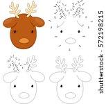 christmas cartoon reindeer.... | Shutterstock .eps vector #572198215
