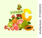 vitamin c food source vector... | Shutterstock .eps vector #572204101