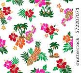 hibiscus flower pattern | Shutterstock .eps vector #572207071