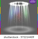 round white glow rays night... | Shutterstock .eps vector #572214409