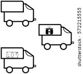 black lorry   icons set. | Shutterstock .eps vector #572215555