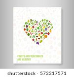 book heart vegetables fruits ... | Shutterstock .eps vector #572217571