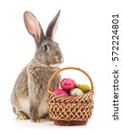 Small photo of Easter basket and bunny on a white background.