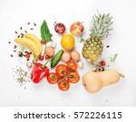 variety health food on a white... | Shutterstock . vector #572226115