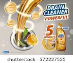 drain cleaner ads  liquid... | Shutterstock .eps vector #572227525