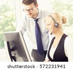 people working in a call center ... | Shutterstock . vector #572231941