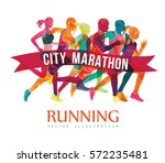running marathon  people run ... | Shutterstock .eps vector #572235481