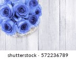 Rose Blue Flowers On A White...