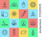 16 yoga icons. main symbols... | Shutterstock .eps vector #572239195