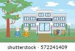 nursing home building exterior. ... | Shutterstock .eps vector #572241409