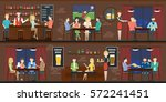 bar interior set with visitors... | Shutterstock .eps vector #572241451