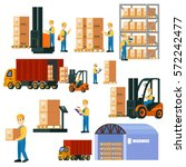 colorful logistic warehouse set ... | Shutterstock .eps vector #572242477