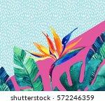 abstract tropical summer design ... | Shutterstock . vector #572246359