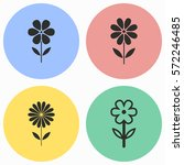 Stock vector flower vector icons set black illustration isolated for graphic and web design 572246485