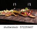 italian antipasti wine snacks... | Shutterstock . vector #572253607