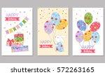 set of 3 children's birthday... | Shutterstock .eps vector #572263165