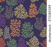seamless pattern with corals on ... | Shutterstock .eps vector #572285359