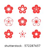 cherry blossom. icon set. pink... | Shutterstock .eps vector #572287657