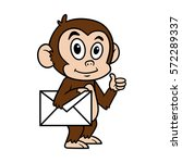 cartoon monkey with envelope... | Shutterstock .eps vector #572289337