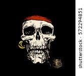 skull of pirate smoking hand... | Shutterstock .eps vector #572294851