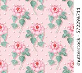 seamless pattern. pink flowers. ... | Shutterstock . vector #572296711