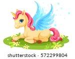 cute baby unicorn fantasy... | Shutterstock .eps vector #572299804