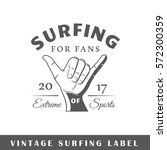 surfing label isolated on white ... | Shutterstock .eps vector #572300359