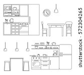 kitchen with furniture set.... | Shutterstock .eps vector #572304265