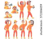 racing team members in orange... | Shutterstock .eps vector #572306059