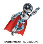 super robot fly and red cloak....   Shutterstock . vector #572307091