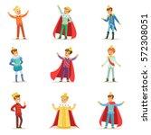 little boys in prince costume... | Shutterstock .eps vector #572308051
