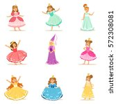 little girls in princess... | Shutterstock .eps vector #572308081