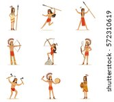 native american tribe members... | Shutterstock .eps vector #572310619