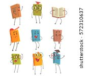 cute humanized book emoji... | Shutterstock .eps vector #572310637