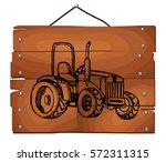 Sketched Tractor On Wooden...