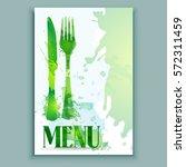 menu fork and spoon  watercolor ... | Shutterstock .eps vector #572311459