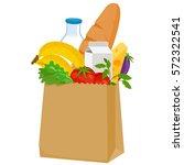 paper bag with groceries  milk  ...   Shutterstock .eps vector #572322541
