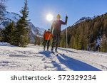 a couple of cross country... | Shutterstock . vector #572329234