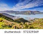 port of lyttelton and lyttelton ... | Shutterstock . vector #572329369