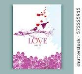 hand drawn lover birds on ... | Shutterstock .eps vector #572335915