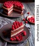 homemade chocolate cake no bake ... | Shutterstock . vector #572338411