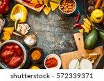 vegetarian cooking ingredients... | Shutterstock . vector #572339371