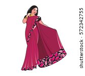 lady in purple color saree... | Shutterstock .eps vector #572342755