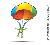happy colorful parachute frog...   Shutterstock .eps vector #572345674