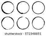 set of six cofee ring stains.... | Shutterstock .eps vector #572348851
