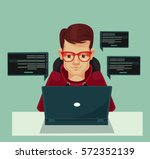 young programmer man character... | Shutterstock .eps vector #572352139